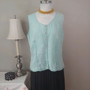 J.Jill Minty Fresh Sleeveless Linen Top